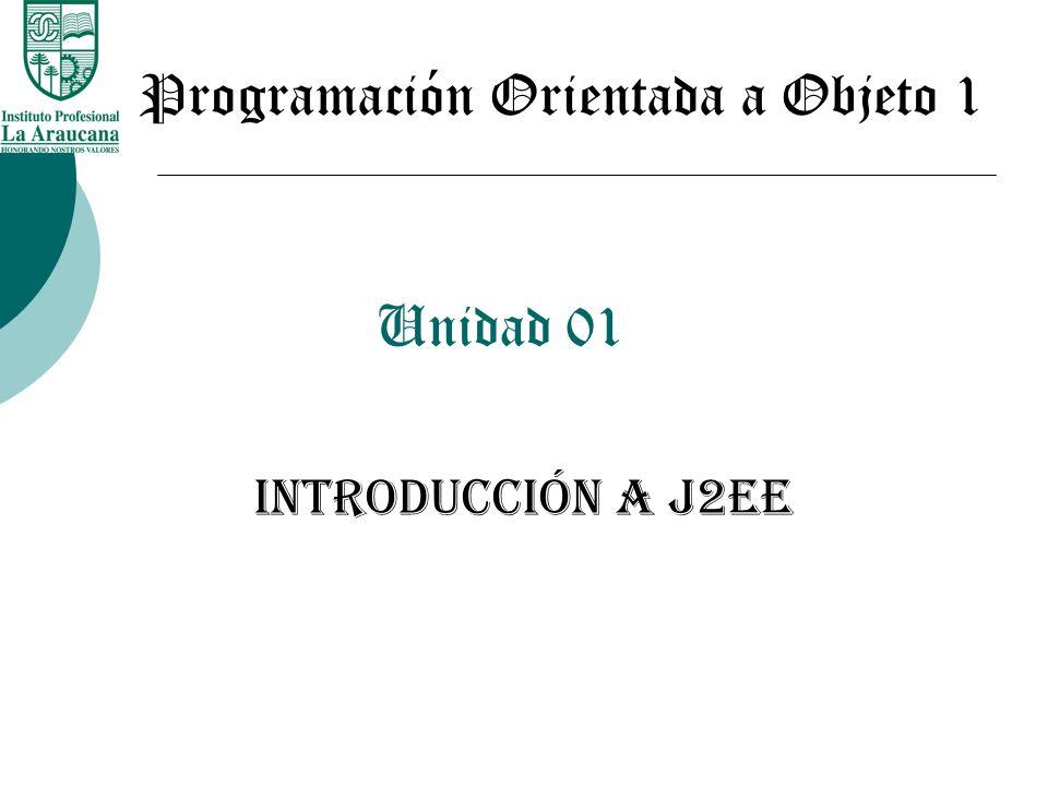 Unidad 01 Introducción a j2ee Programación Orientada a Objeto 1