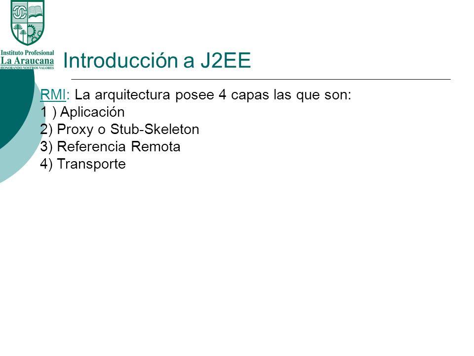 Introducción a J2EE RMI: La arquitectura posee 4 capas las que son: 1 ) Aplicación 2) Proxy o Stub-Skeleton 3) Referencia Remota 4) Transporte