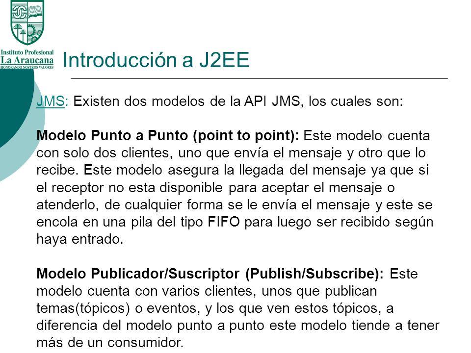 Introducción a J2EE JMS: Existen dos modelos de la API JMS, los cuales son: Modelo Punto a Punto (point to point): Este modelo cuenta con solo dos cli