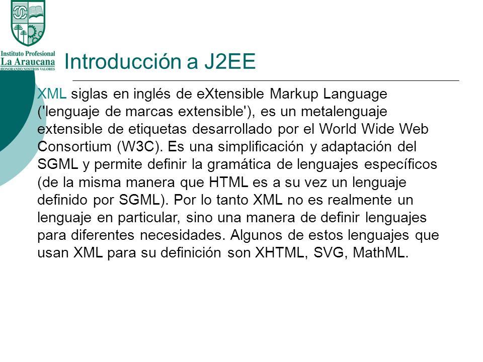 Introducción a J2EE XML siglas en inglés de eXtensible Markup Language ('lenguaje de marcas extensible'), es un metalenguaje extensible de etiquetas d