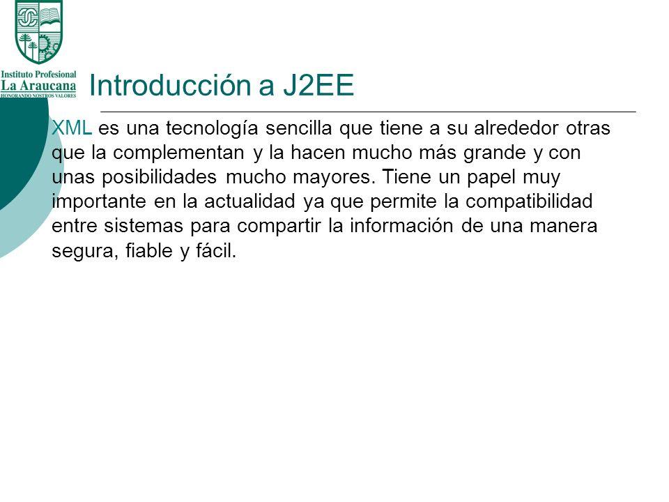 Introducción a J2EE XML es una tecnología sencilla que tiene a su alrededor otras que la complementan y la hacen mucho más grande y con unas posibilid
