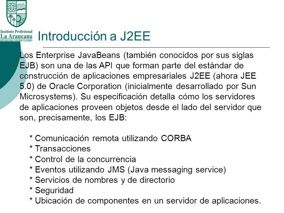 Introducción a J2EE Los Enterprise JavaBeans (también conocidos por sus siglas EJB) son una de las API que forman parte del estándar de construcción d