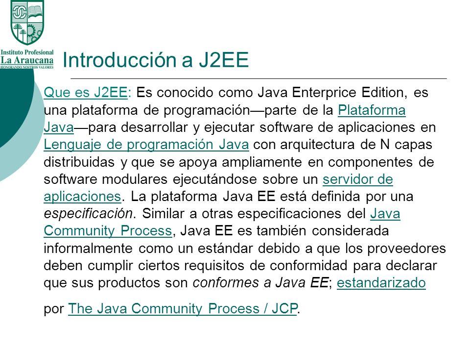 Introducción a J2EE Que es J2EE: Es conocido como Java Enterprice Edition, es una plataforma de programaciónparte de la Plataforma Javapara desarrolla