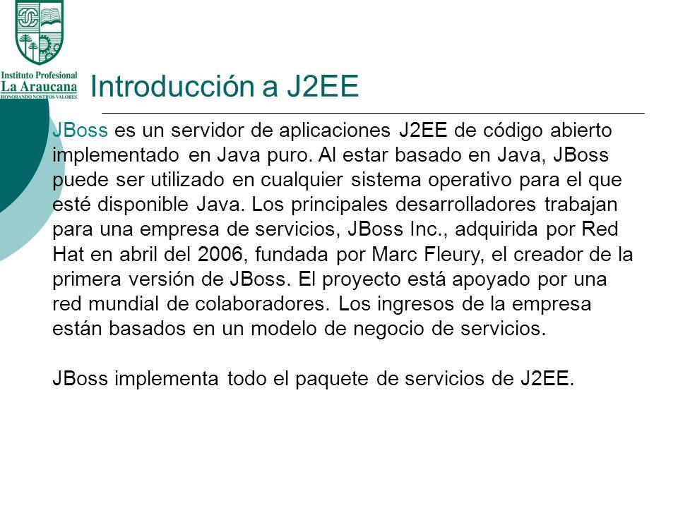 Introducción a J2EE JBoss es un servidor de aplicaciones J2EE de código abierto implementado en Java puro. Al estar basado en Java, JBoss puede ser ut