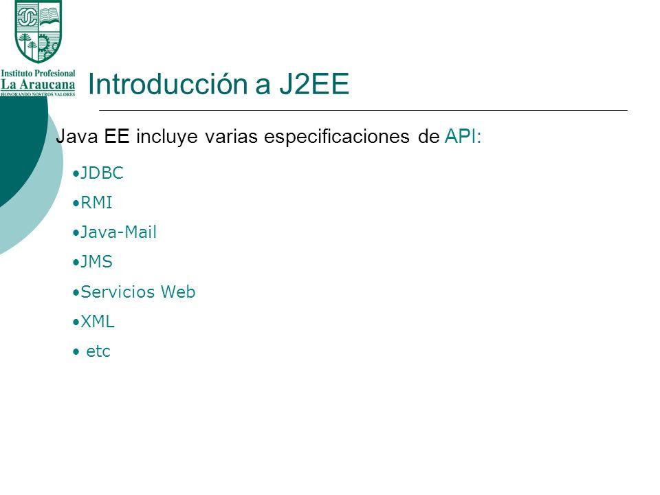 Introducción a J2EE Java EE incluye varias especificaciones de API: JDBC RMI Java-Mail JMS Servicios Web XML etc