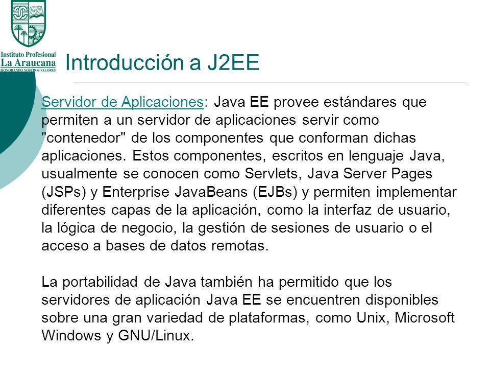 Introducción a J2EE Servidor de Aplicaciones: Java EE provee estándares que permiten a un servidor de aplicaciones servir como