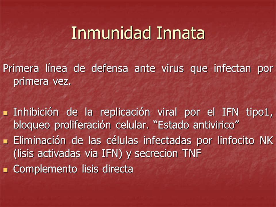 Inmunidad Innata Primera línea de defensa ante virus que infectan por primera vez. Inhibición de la replicación viral por el IFN tipo1, bloqueo prolif