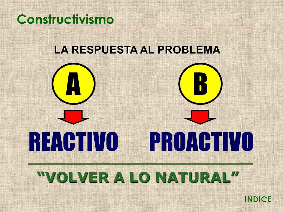 Constructivismo INDICE AB LA RESPUESTA AL PROBLEMA REACTIVO PROACTIVO VOLVER A LO NATURAL