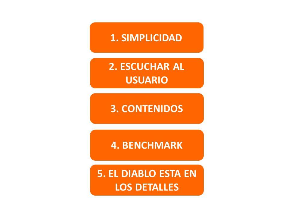1. SIMPLICIDAD 2. ESCUCHAR AL USUARIO 3. CONTENIDOS 4. BENCHMARK 5. EL DIABLO ESTA EN LOS DETALLES