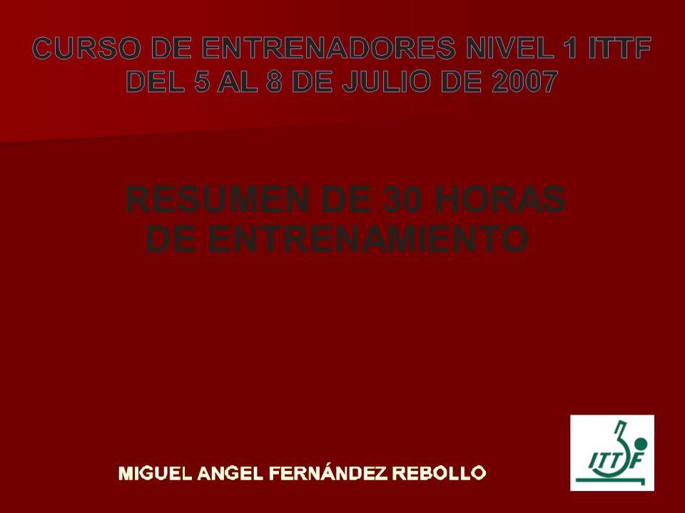 RESUMEN DE 30 HORAS DE ENTRENAMIENTO DE TENIS DE MESA Este modelo de entrenamiento esta basado en mi trabajo como entrenador del club ADM-Marilia a través de un intercambio técnico entre la ciudad de Marilia y diferentes clubes de España.