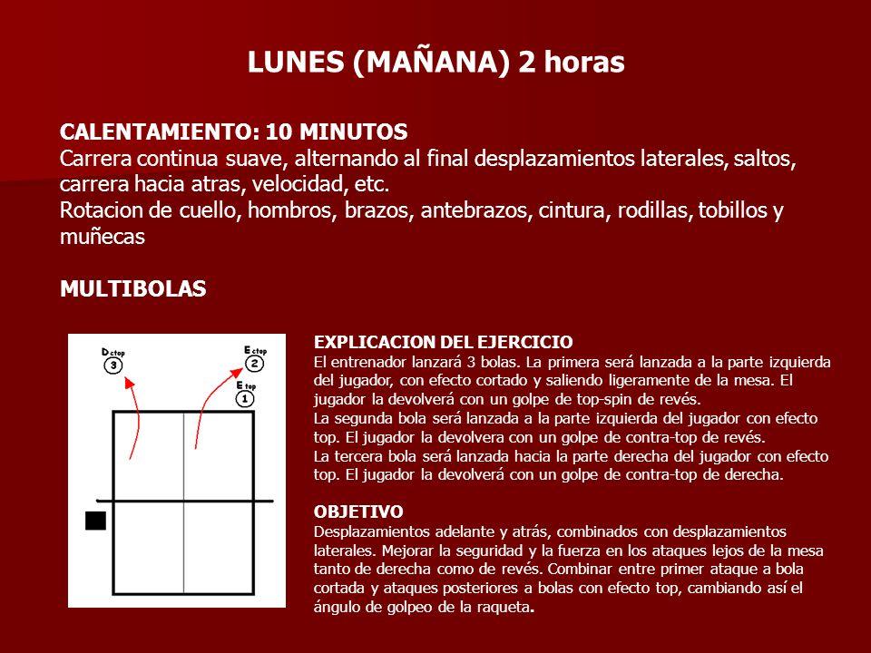 EXPLICACIÓN DEL EJERCICIO El entrenador lanzará 5 bolas, la primera corta en la derecha, el jugador devolverá cortada o con flic.