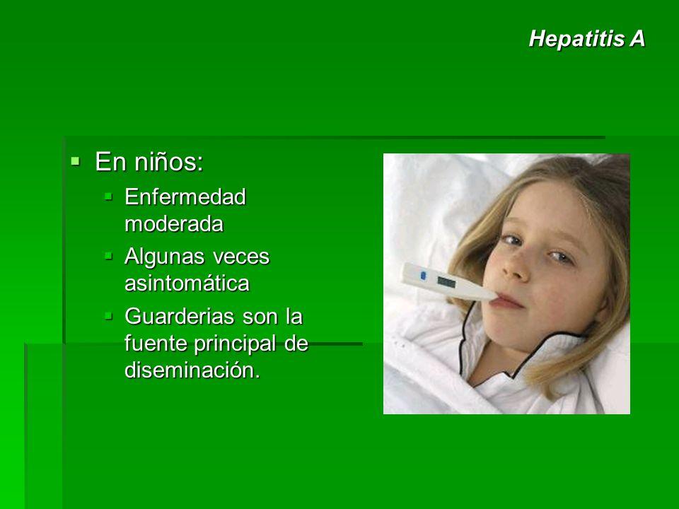En niños: En niños: Enfermedad moderada Enfermedad moderada Algunas veces asintomática Algunas veces asintomática Guarderias son la fuente principal d