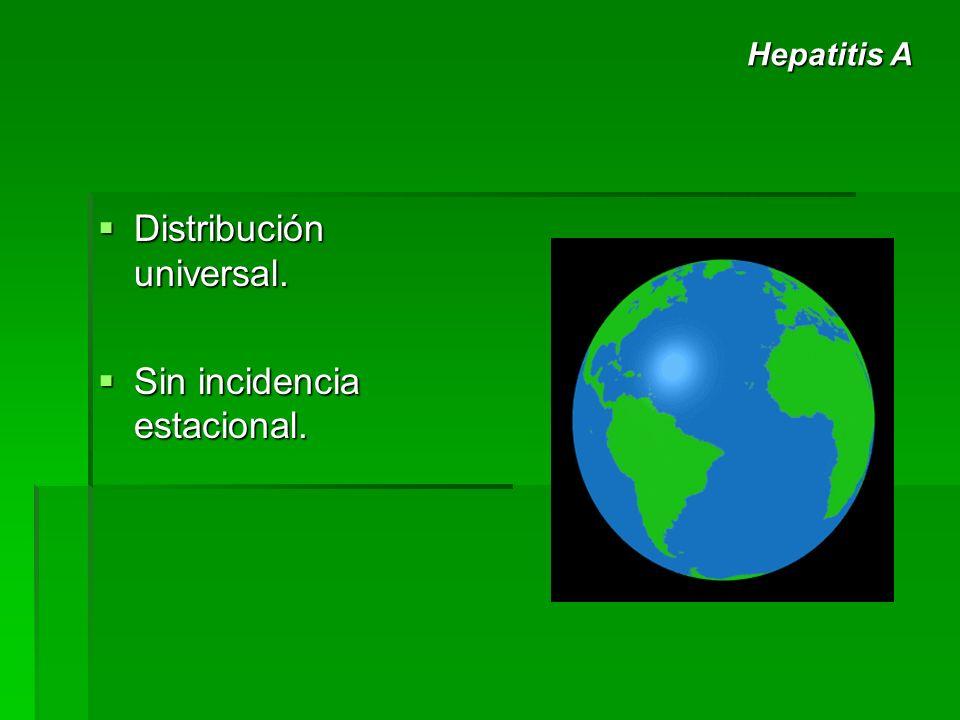 Distribución universal. Distribución universal. Sin incidencia estacional. Sin incidencia estacional. Hepatitis A