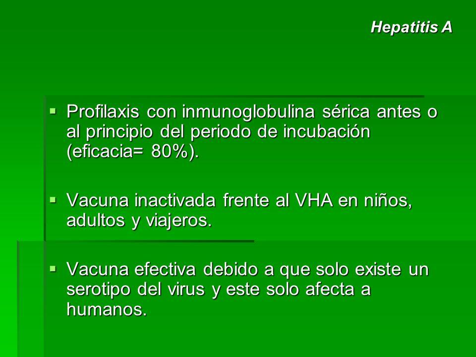 Profilaxis con inmunoglobulina sérica antes o al principio del periodo de incubación (eficacia= 80%). Profilaxis con inmunoglobulina sérica antes o al