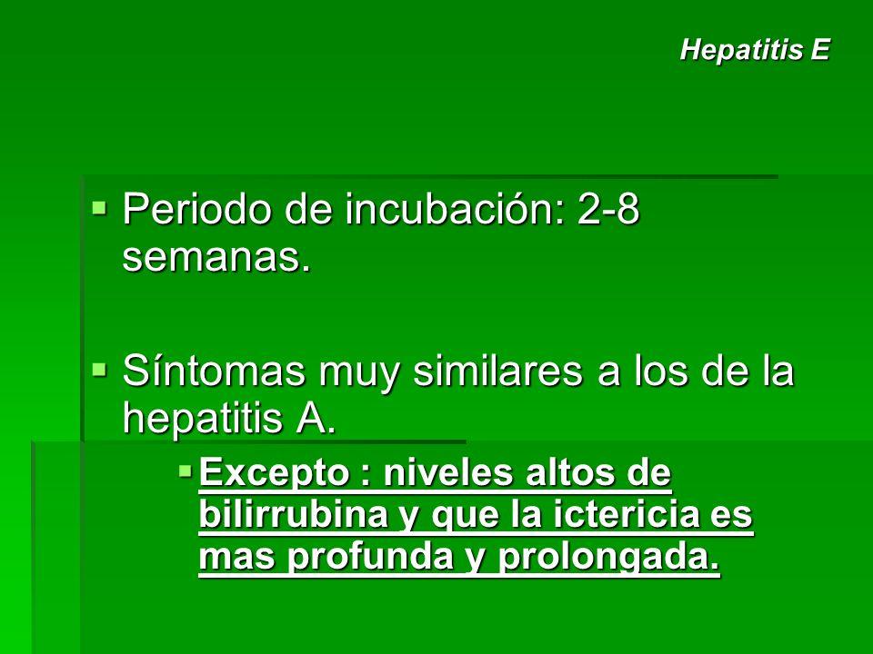 Periodo de incubación: 2-8 semanas. Periodo de incubación: 2-8 semanas. Síntomas muy similares a los de la hepatitis A. Síntomas muy similares a los d