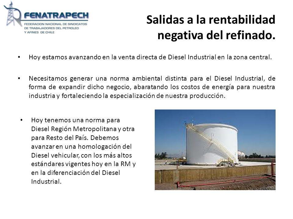 Salidas a la rentabilidad negativa del refinado. Hoy estamos avanzando en la venta directa de Diesel Industrial en la zona central. Necesitamos genera