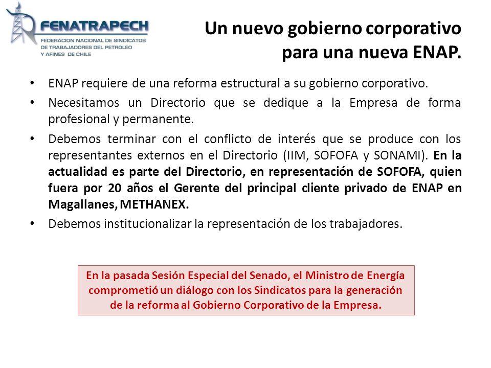 Un nuevo gobierno corporativo para una nueva ENAP. ENAP requiere de una reforma estructural a su gobierno corporativo. Necesitamos un Directorio que s