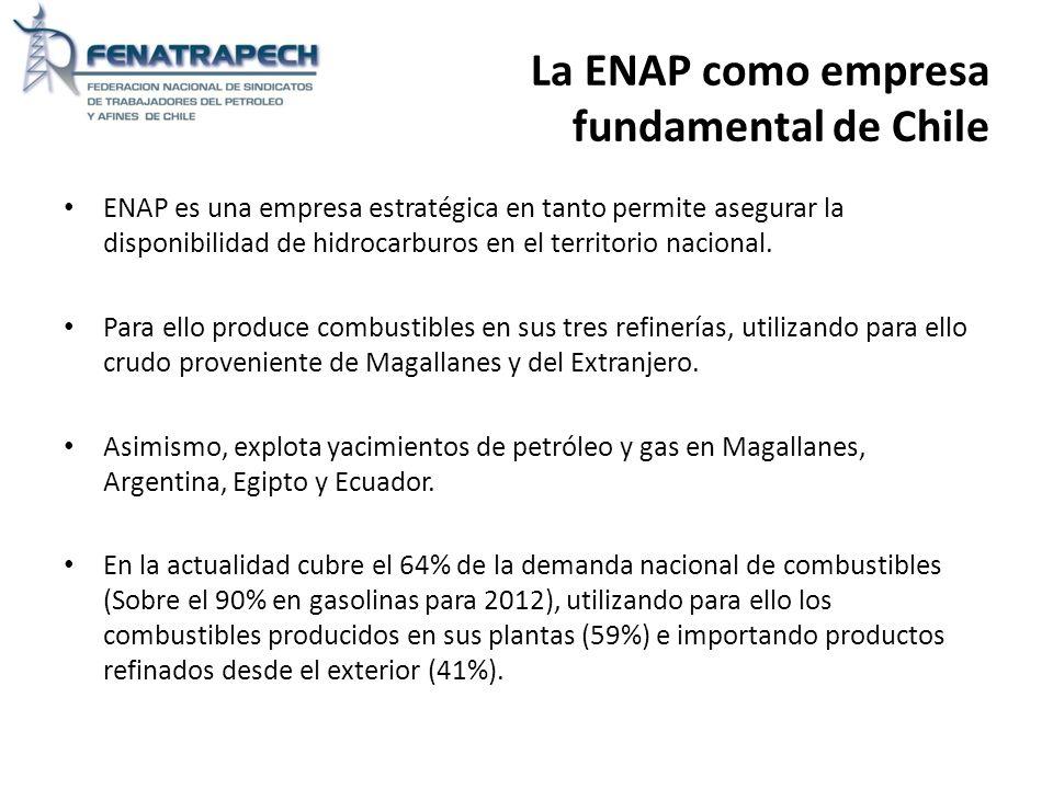 La ENAP como empresa fundamental de Chile ENAP es una empresa estratégica en tanto permite asegurar la disponibilidad de hidrocarburos en el territori