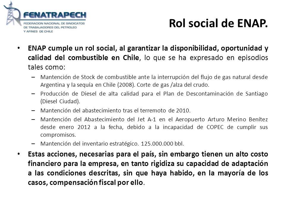 Rol social de ENAP. ENAP cumple un rol social, al garantizar la disponibilidad, oportunidad y calidad del combustible en Chile, lo que se ha expresado