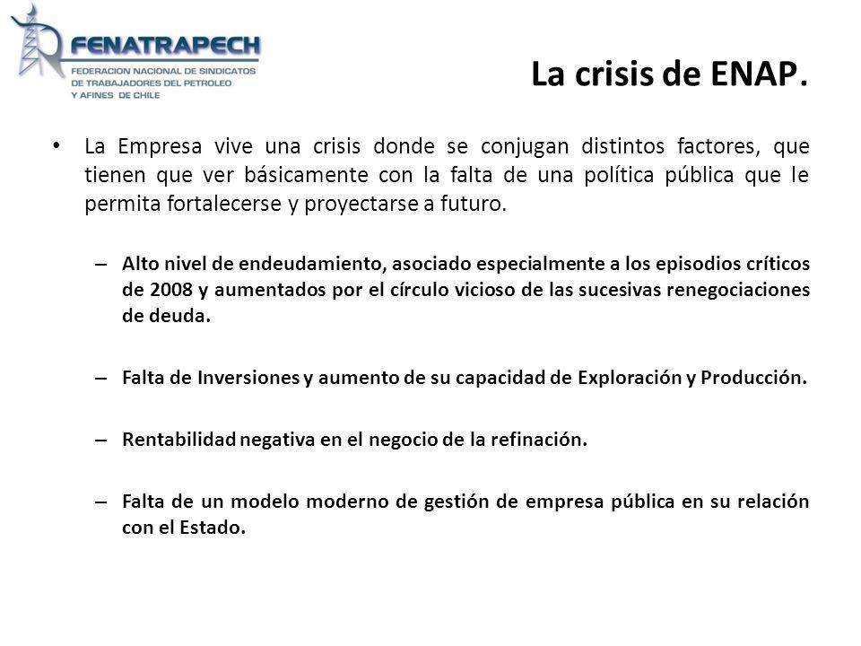 La crisis de ENAP. La Empresa vive una crisis donde se conjugan distintos factores, que tienen que ver básicamente con la falta de una política públic