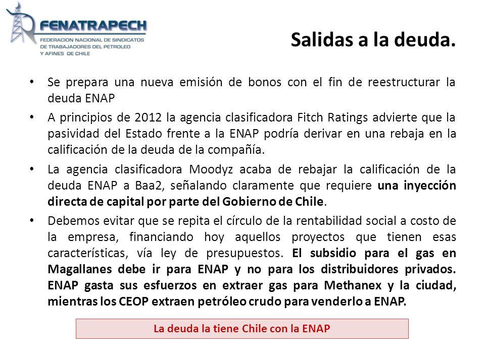 Salidas a la deuda. Se prepara una nueva emisión de bonos con el fin de reestructurar la deuda ENAP A principios de 2012 la agencia clasificadora Fitc