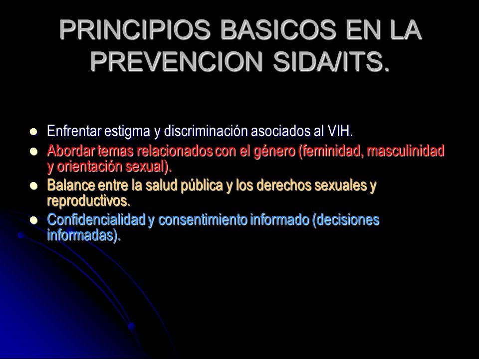 PRINCIPIOS BASICOS EN LA PREVENCION SIDA/ITS. Enfrentar estigma y discriminación asociados al VIH. Enfrentar estigma y discriminación asociados al VIH
