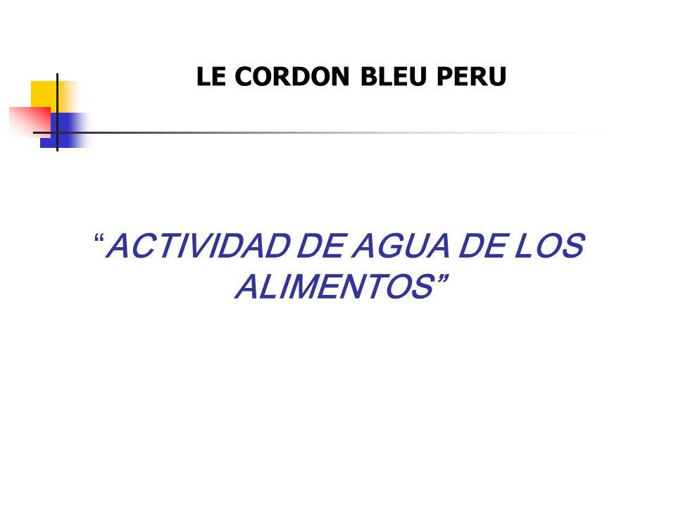 ACTIVIDAD DE AGUA DE LOS ALIMENTOS LE CORDON BLEU PERU