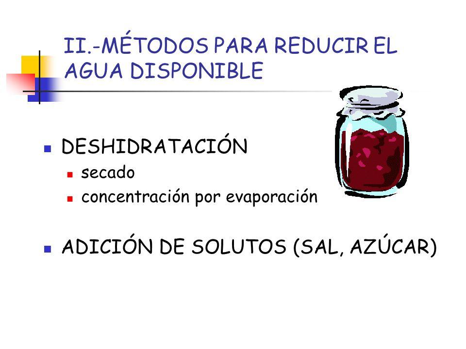 II.-MÉTODOS PARA REDUCIR EL AGUA DISPONIBLE DESHIDRATACIÓN secado concentración por evaporación ADICIÓN DE SOLUTOS (SAL, AZÚCAR)