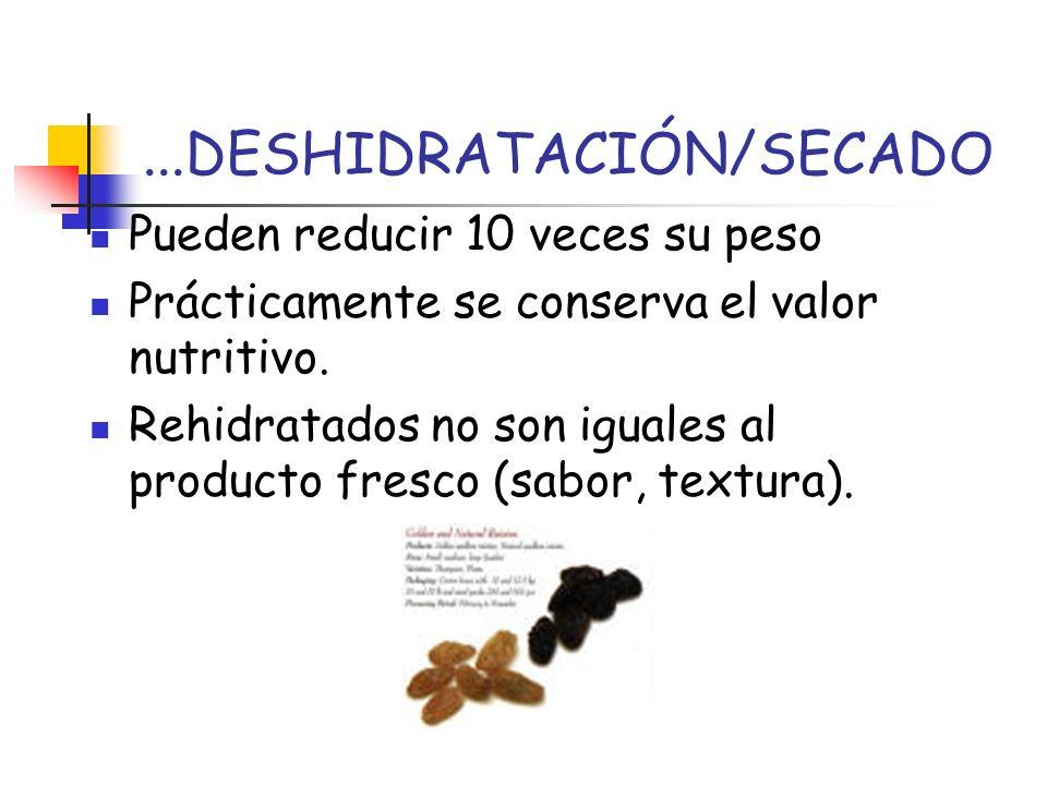 ...DESHIDRATACIÓN/SECADO Pueden reducir 10 veces su peso Prácticamente se conserva el valor nutritivo. Rehidratados no son iguales al producto fresco