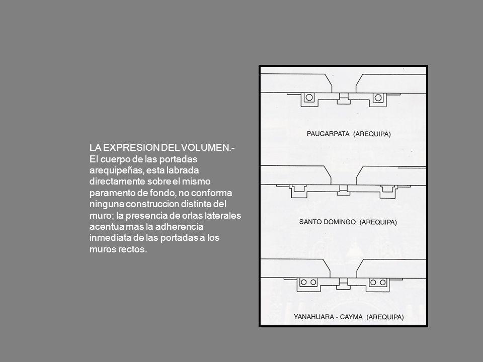 LA EXPRESION DEL VOLUMEN.- El cuerpo de las portadas arequipeñas, esta labrada directamente sobre el mismo paramento de fondo, no conforma ninguna con