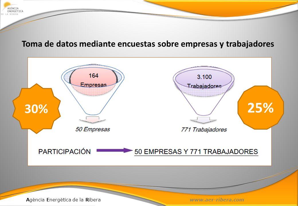Agència Energètica de la Ribera www.aer-ribera.com Toma de datos mediante encuestas sobre empresas y trabajadores 25% 30%
