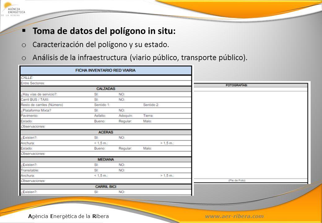 Agència Energètica de la Ribera www.aer-ribera.com Toma de datos del polígono in situ: o Caracterización del polígono y su estado. o Análisis de la in