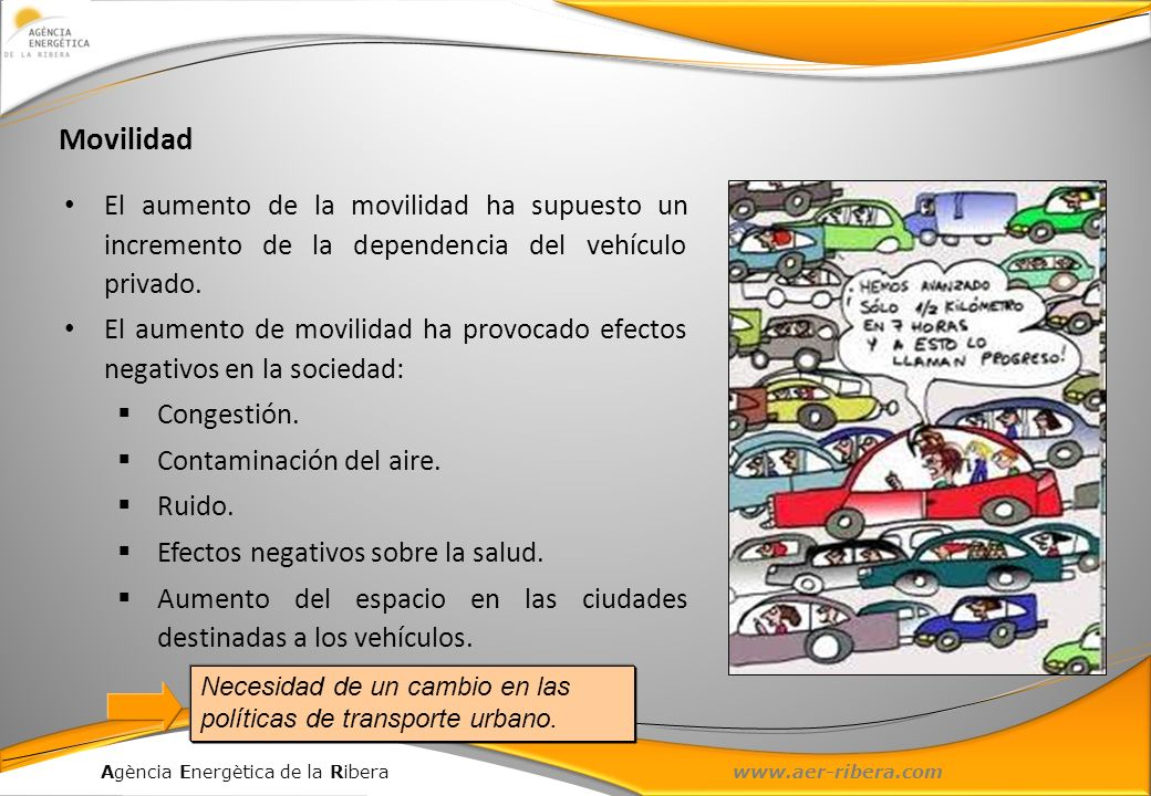 Agència Energètica de la Ribera www.aer-ribera.com El aumento de la movilidad ha supuesto un incremento de la dependencia del vehículo privado. El aum