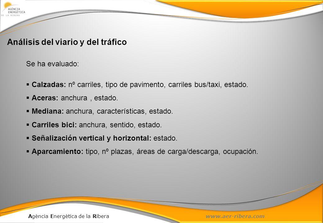 Agència Energètica de la Ribera www.aer-ribera.com Análisis del viario y del tráfico Se ha evaluado: Calzadas: nº carriles, tipo de pavimento, carrile