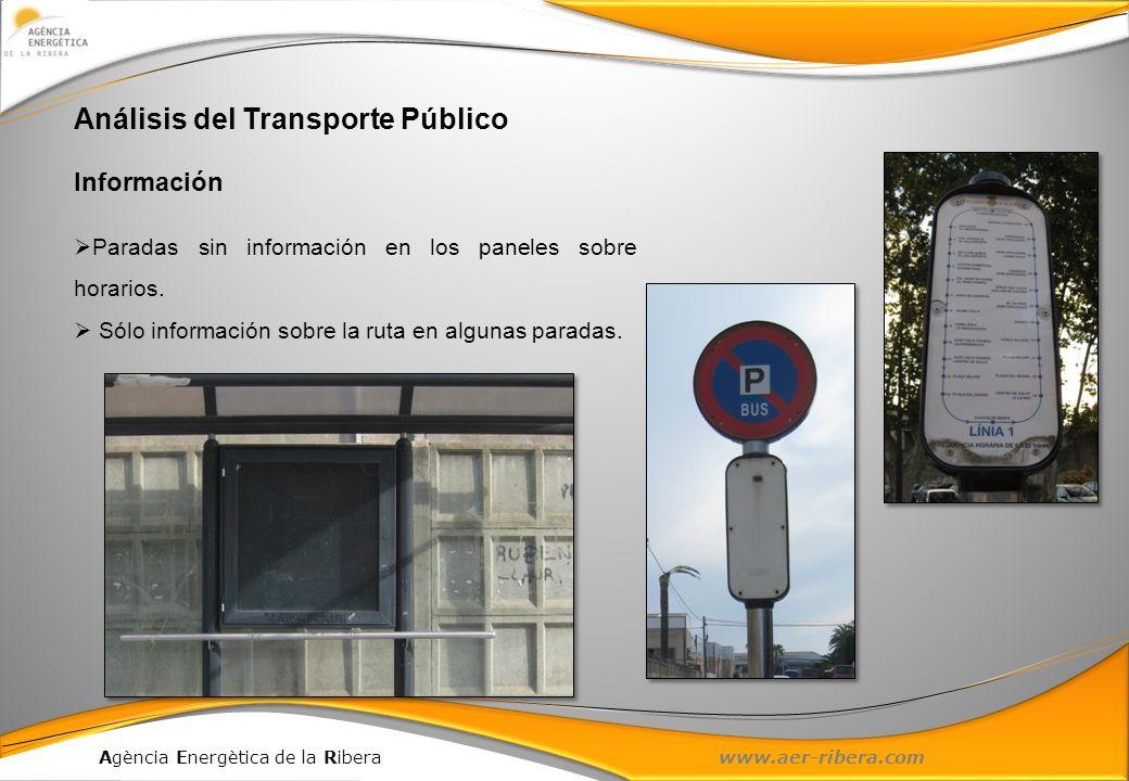 Agència Energètica de la Ribera www.aer-ribera.com Análisis del Transporte Público Información Paradas sin información en los paneles sobre horarios.