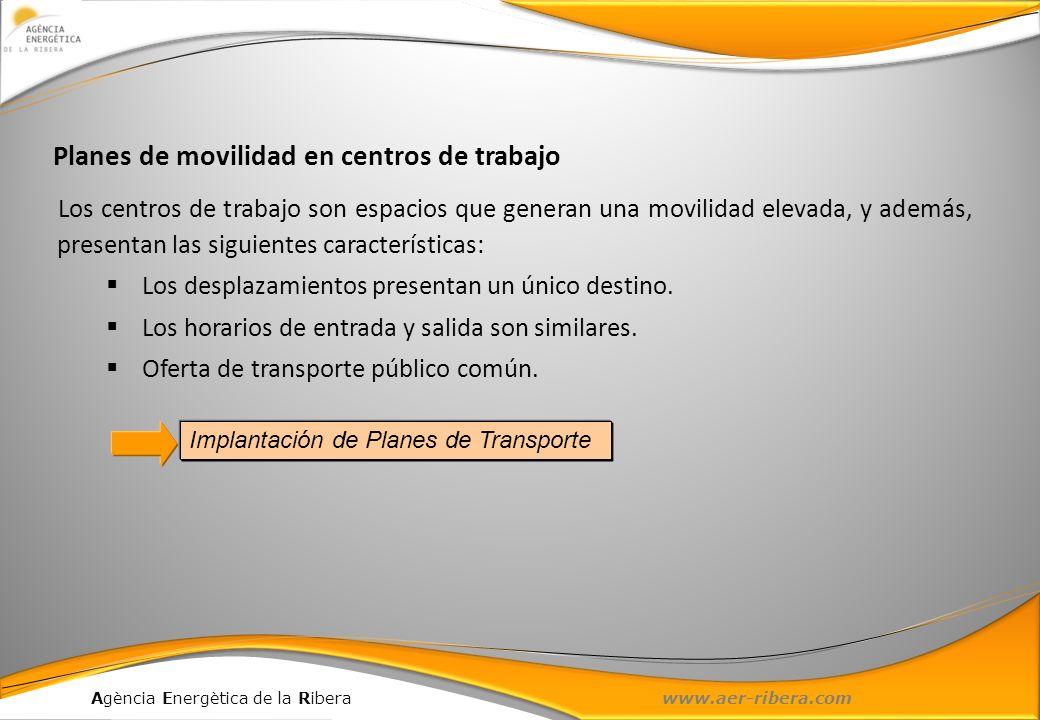 Agència Energètica de la Ribera www.aer-ribera.com Los centros de trabajo son espacios que generan una movilidad elevada, y además, presentan las sigu