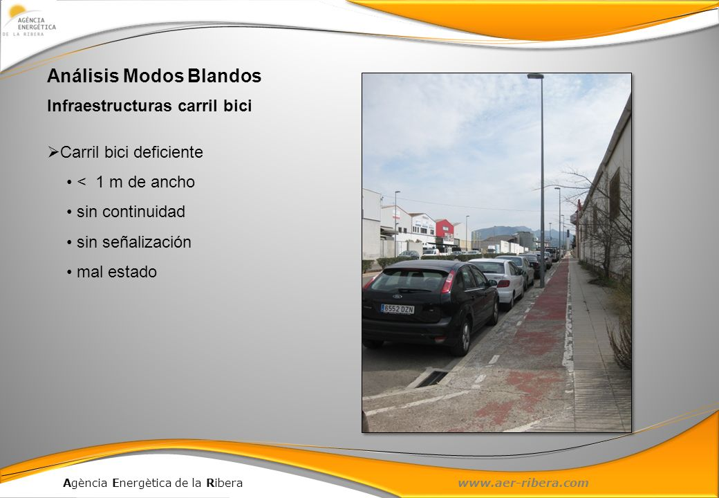 Agència Energètica de la Ribera www.aer-ribera.com Análisis Modos Blandos Infraestructuras carril bici Carril bici deficiente < 1 m de ancho sin conti