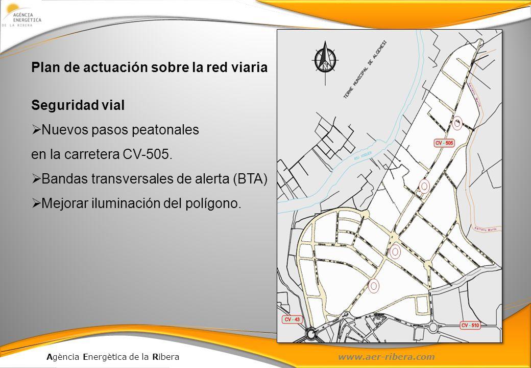 Agència Energètica de la Ribera www.aer-ribera.com Plan de actuación sobre la red viaria Seguridad vial Nuevos pasos peatonales en la carretera CV-505