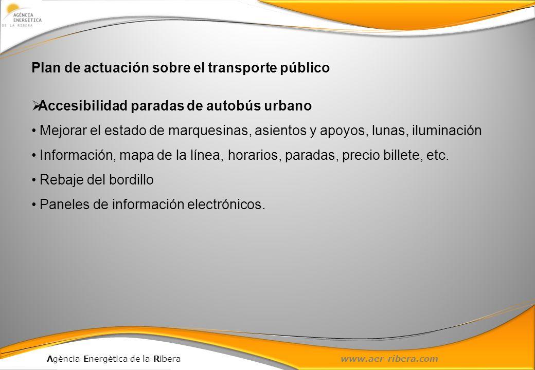 Agència Energètica de la Ribera www.aer-ribera.com Plan de actuación sobre el transporte público Accesibilidad paradas de autobús urbano Mejorar el es