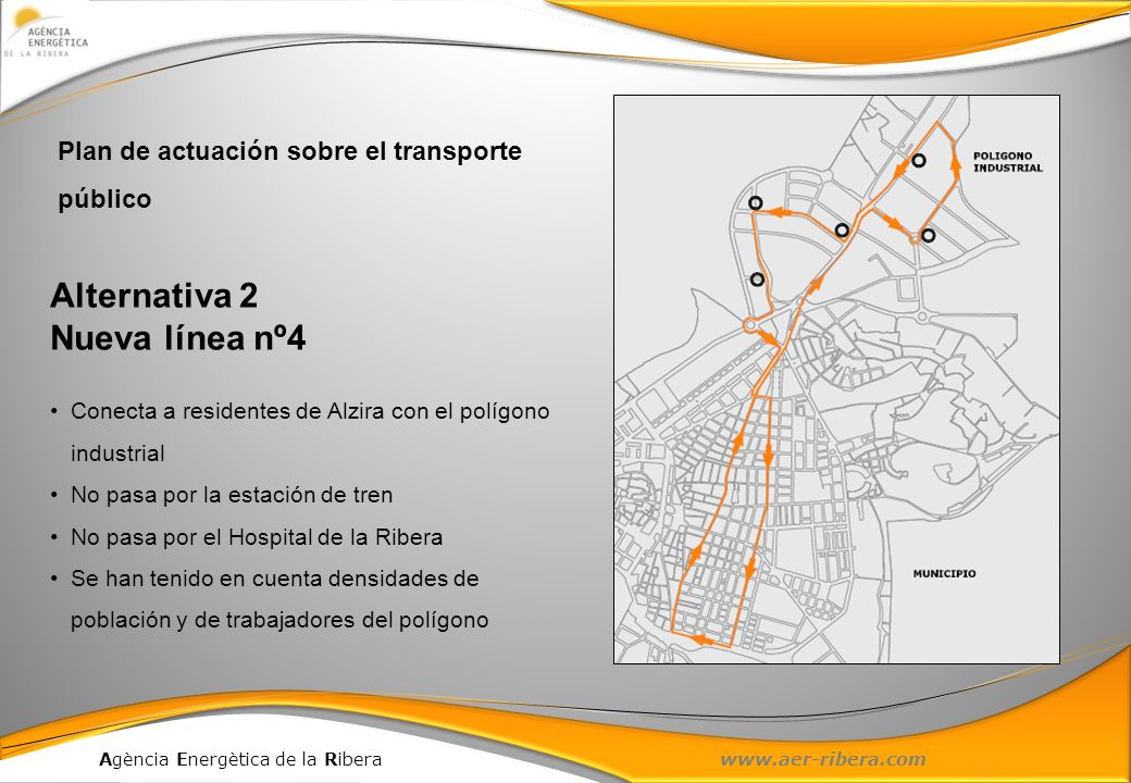 Agència Energètica de la Ribera www.aer-ribera.com Alternativa 2 Nueva línea nº4 Conecta a residentes de Alzira con el polígono industrial No pasa por