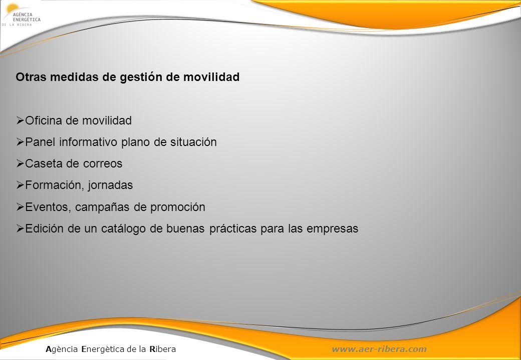 Agència Energètica de la Ribera www.aer-ribera.com Otras medidas de gestión de movilidad Oficina de movilidad Panel informativo plano de situación Cas