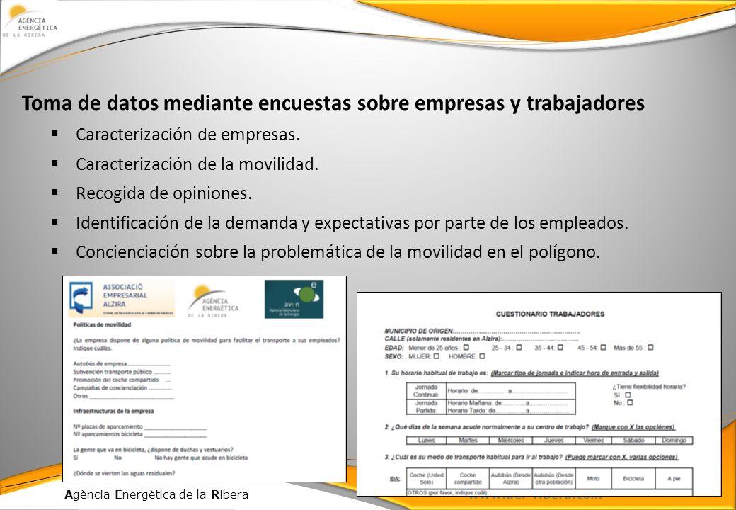 Agència Energètica de la Ribera www.aer-ribera.com Toma de datos mediante encuestas sobre empresas y trabajadores Caracterización de empresas. Caracte