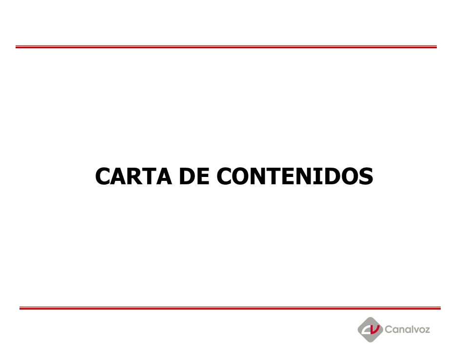 CARTA DE CONTENIDOS