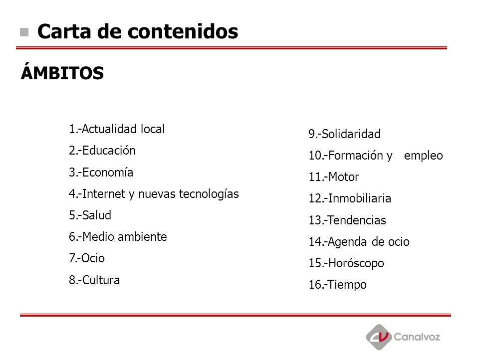 Carta de contenidos ÁMBITOS 1.-Actualidad local 2.-Educación 3.-Economía 4.-Internet y nuevas tecnologías 5.-Salud 6.-Medio ambiente 7.-Ocio 8.-Cultur