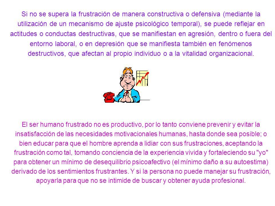 Si no se supera la frustración de manera constructiva o defensiva (mediante la utilización de un mecanismo de ajuste psicológico temporal), se puede r