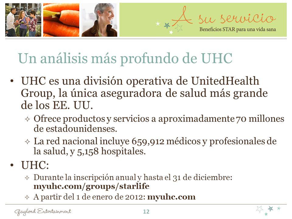 Un análisis más profundo de UHC UHC es una división operativa de UnitedHealth Group, la única aseguradora de salud más grande de los EE. UU. Ofrece pr