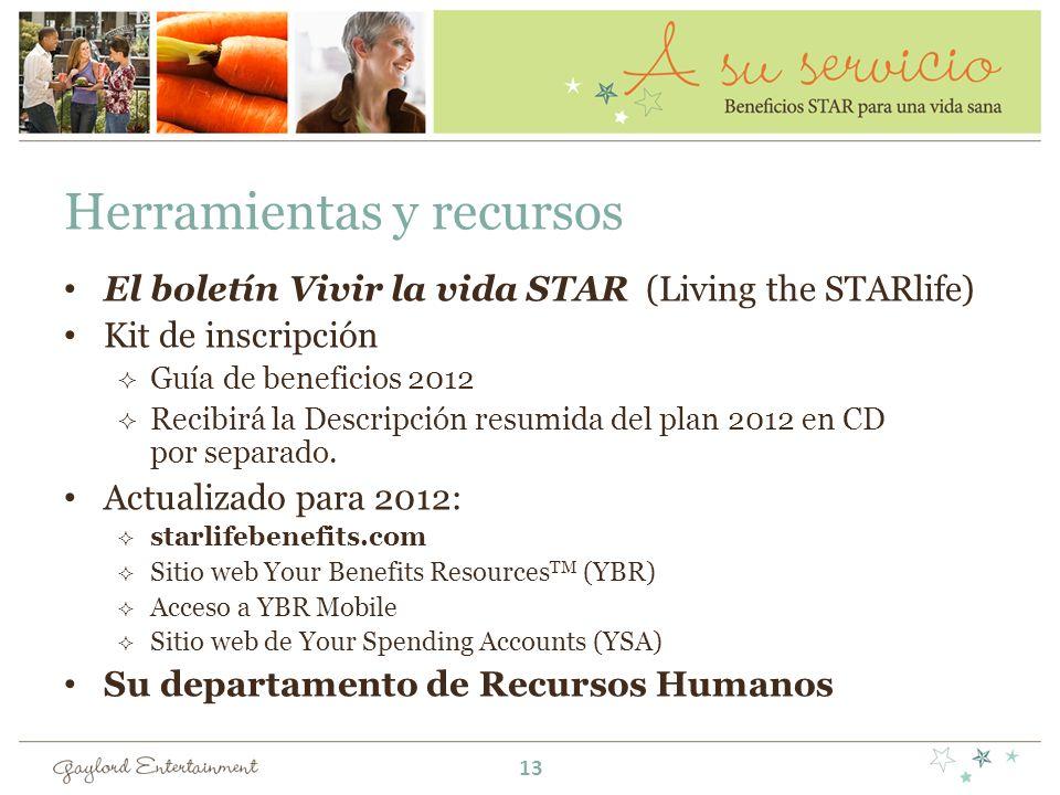 Herramientas y recursos El boletín Vivir la vida STAR (Living the STARlife) Kit de inscripción Guía de beneficios 2012 Recibirá la Descripción resumid