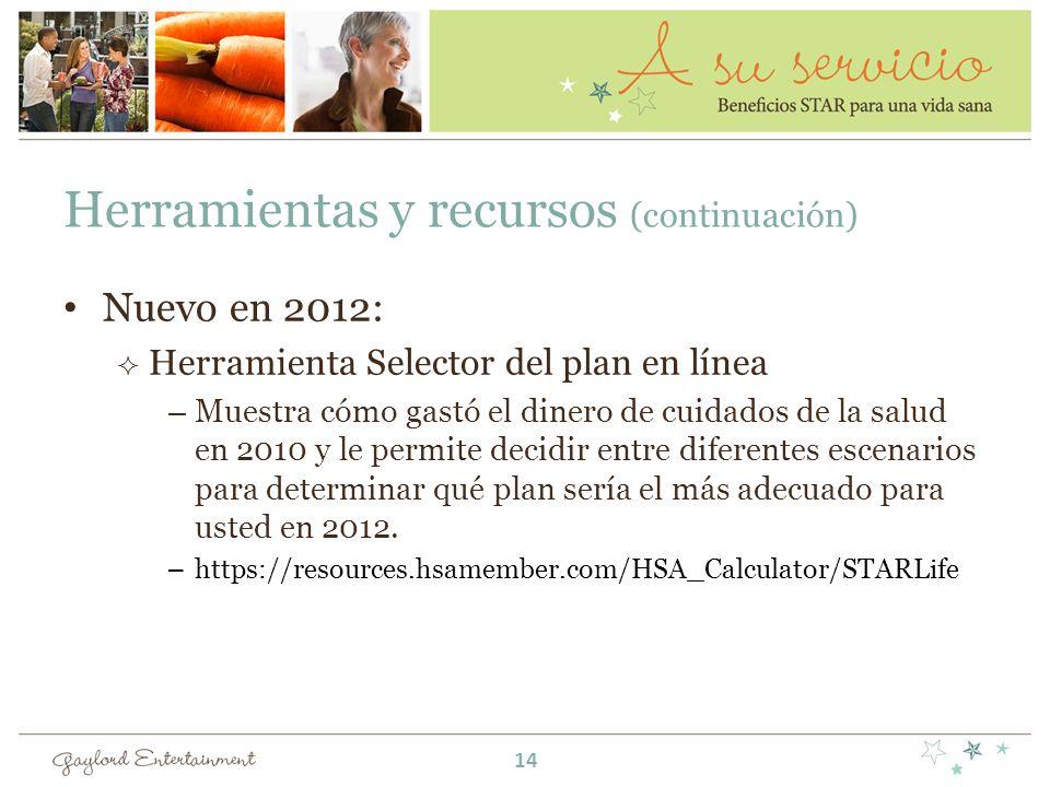 Herramientas y recursos (continuación) Nuevo en 2012: Herramienta Selector del plan en línea –Muestra cómo gastó el dinero de cuidados de la salud en 2010 y le permite decidir entre diferentes escenarios para determinar qué plan sería el más adecuado para usted en 2012.