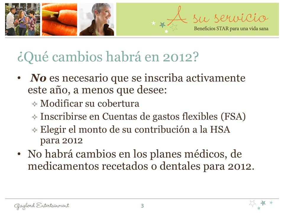 ¿Qué cambios habrá en 2012? No es necesario que se inscriba activamente este año, a menos que desee: Modificar su cobertura Inscribirse en Cuentas de