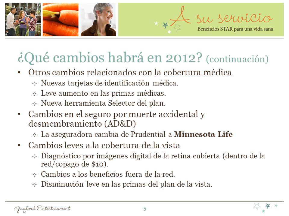 ¿Qué cambios habrá en 2012? (continuación) Otros cambios relacionados con la cobertura médica Nuevas tarjetas de identificación médica. Leve aumento e